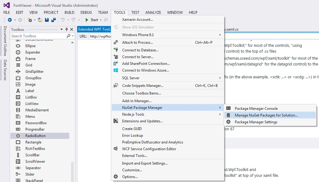 How to build a font viewer application in WPF without