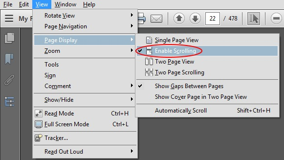 Enable continuous scrolling by default in Adobe Reader