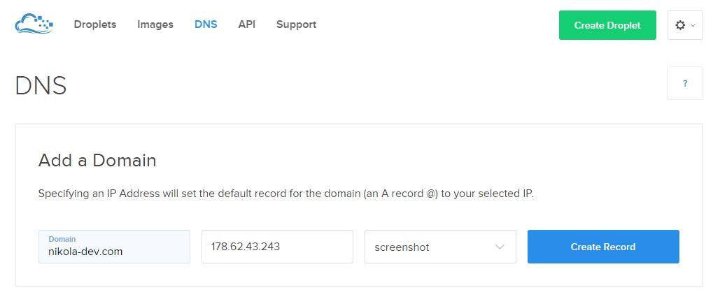 How to add a subdomain for Nodejs application on DigitalOcean